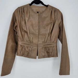 Heart Moon Star 100% Leather Brown Pleated Jacket